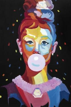 Colorful audrey hepburn portrait with bubblegum