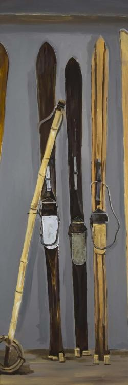 Ski poles and vintage skis