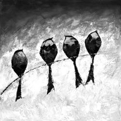 Quatre oiseaux perchés
