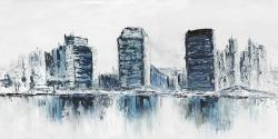 Texturized blue colors cityscape