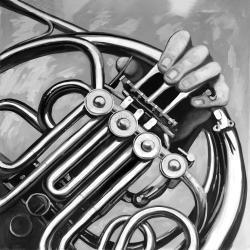 Musicien avec cor français monochrome