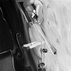 Musicien with cello mono colors