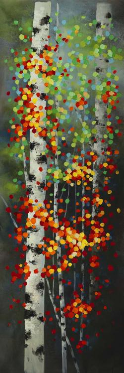 Colorful dotted leaves birches