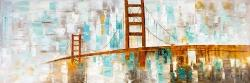 Golden gate with turquoise paint spots