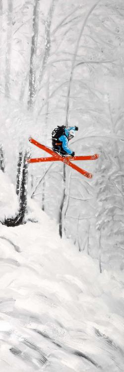 Man skiing in steep offpiste terrain