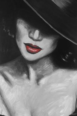 Mysterious red lips lady