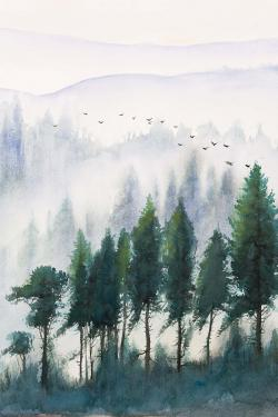 Mountains landscape in watercolor