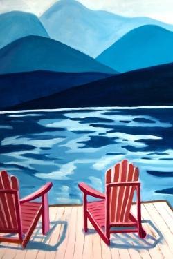 Lake, dock, mountains & chairs