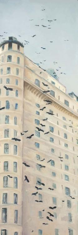 Birds flying in front of a building