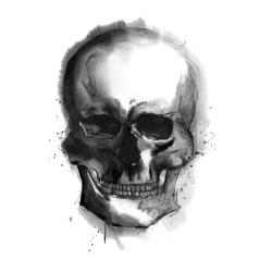 Watercolor dark skull