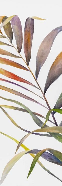 Feuilles de palmiers tropicaux à l'aquarelle