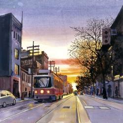 Coucher de soleil une rue torontoise