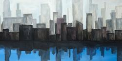 View of a blue city