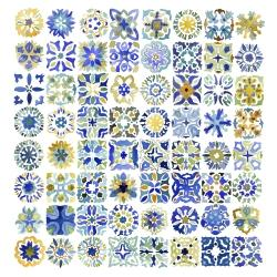 Watercolor traditional moroccan tiles