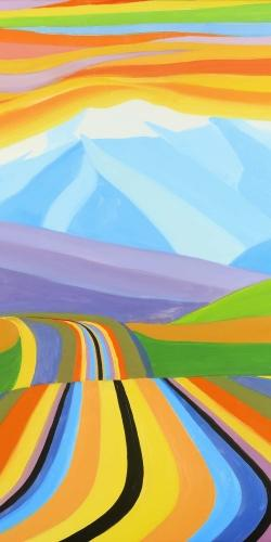 Mountain road multicolored