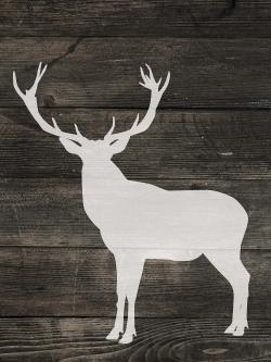 Deer silhouette on wood