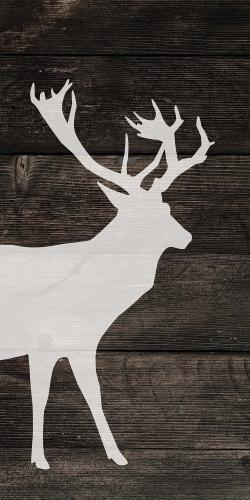 Deer on wood background