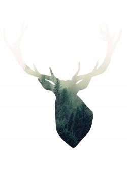 Deer head with green landscape shape