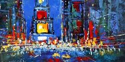 Colorful and abstract times square by night