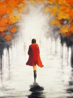 Woman with a red coat by fall
