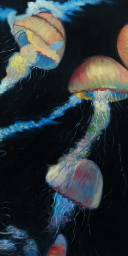 Colorful jellyfishes in the dark