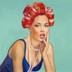 Pin up girl with curlers