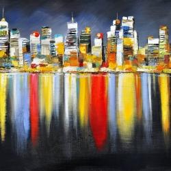 Colorful reflection of a cityscape by night