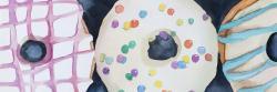 Watercolor delicious looking doughtnuts