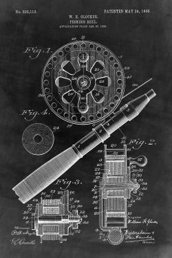Black blueprint of a fishing reel