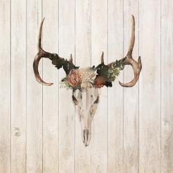 Crâne de cerf avec roses
