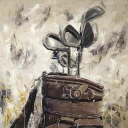 Vintage sticks and golf bag