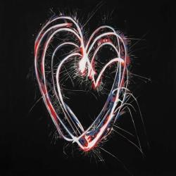 Red & blue fireworks heart