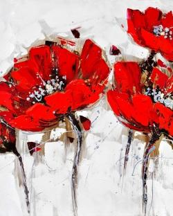 Red poppies with texture