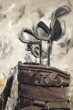 Vintage sticks and golf bag
