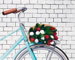 Bicycle with a bouquet of tulips