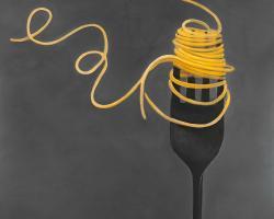 Spaghetti pasta around a fork