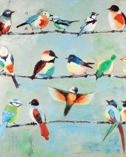 Small abstract colorful birds