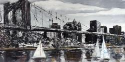 Brooklyn bridge with sailboats