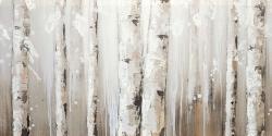 White birches on gray background