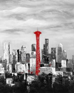 Space needle in red