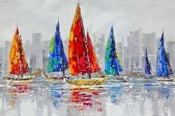 Colorful boats near a gray city