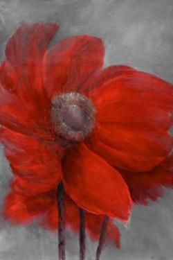 Red flower in the wind