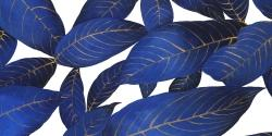 Abstract modern blue leaves