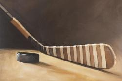 Stick and hockey puck