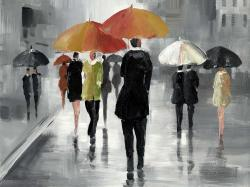 Street scene with umbrellas
