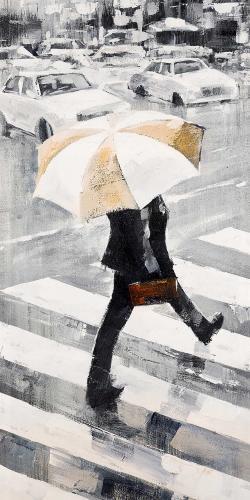 Man walking with his umbrella