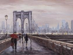 Brooklyn bridge with passersby