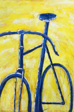 Blue bike on yellow background