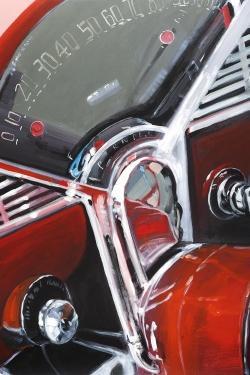 Vintage red car dashboard