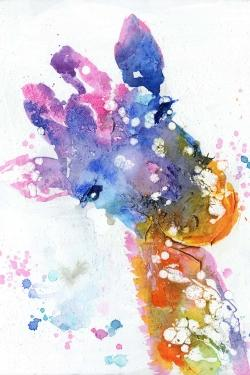 Abstract giraffe with color splash